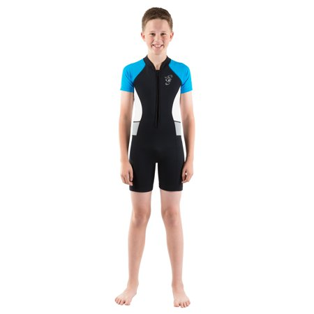 Seavenger Shorty Wetsuit for Kids with 2mm Neoprene and UV Protection, Great for Surfing, Snorkeling, Swimming (Blue,