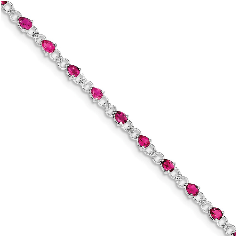 Sterling Silver Pink Tourmaline and Diamond Bracelet QX858PT by