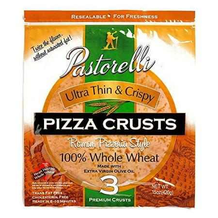 Pastorelli Whole Wheat Ultra Thin & Crispy Pizza Crust 15 oz each (5 Items Per Order) (Crispy Crust)