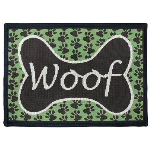 Park B Smith Ltd PB Paws & Co. Coffeebean / Pesto Woof Tapestry Indoor/Outdoor Area Rug