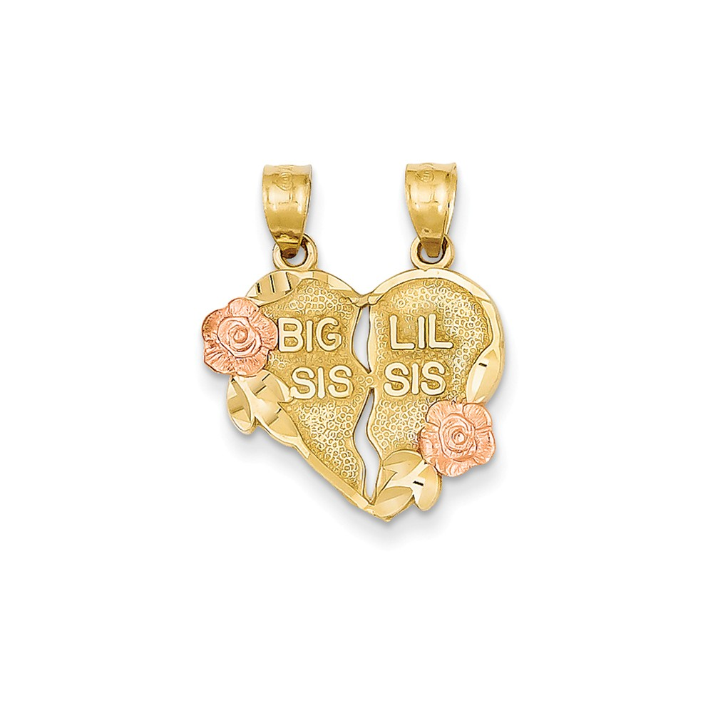 14k Two-Tone Gold Rhodium Break-apart Big Sis and Little Sis Heart Pendant