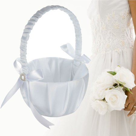 Romantic Wedding Flower Girl Basket White Satin Ceremony Basket Hard Handle Pearl Decor White](Wedding Baskets)