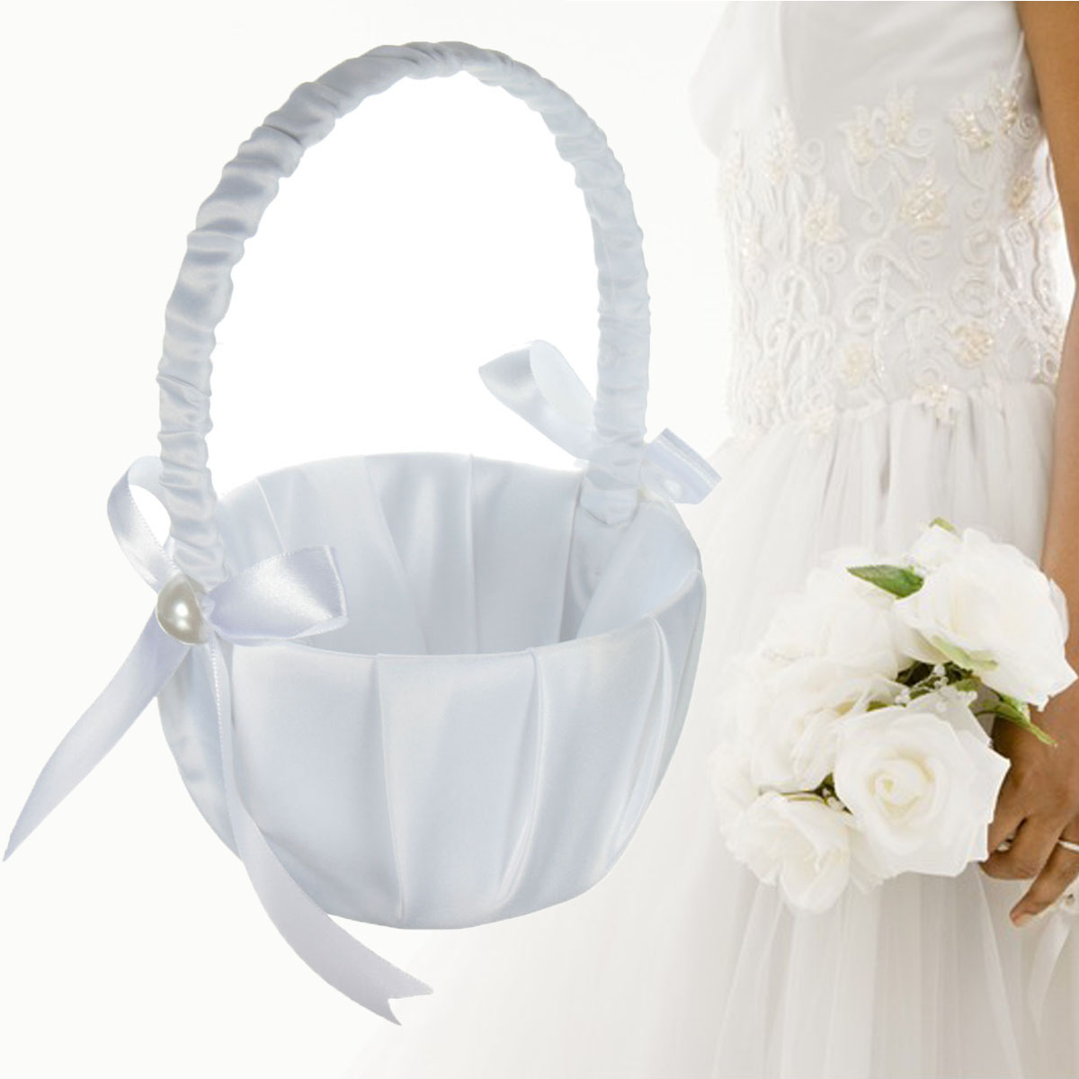Romantic Wedding Flower Girl Basket White Satin Ceremony Basket Hard Handle Pearl Decor White