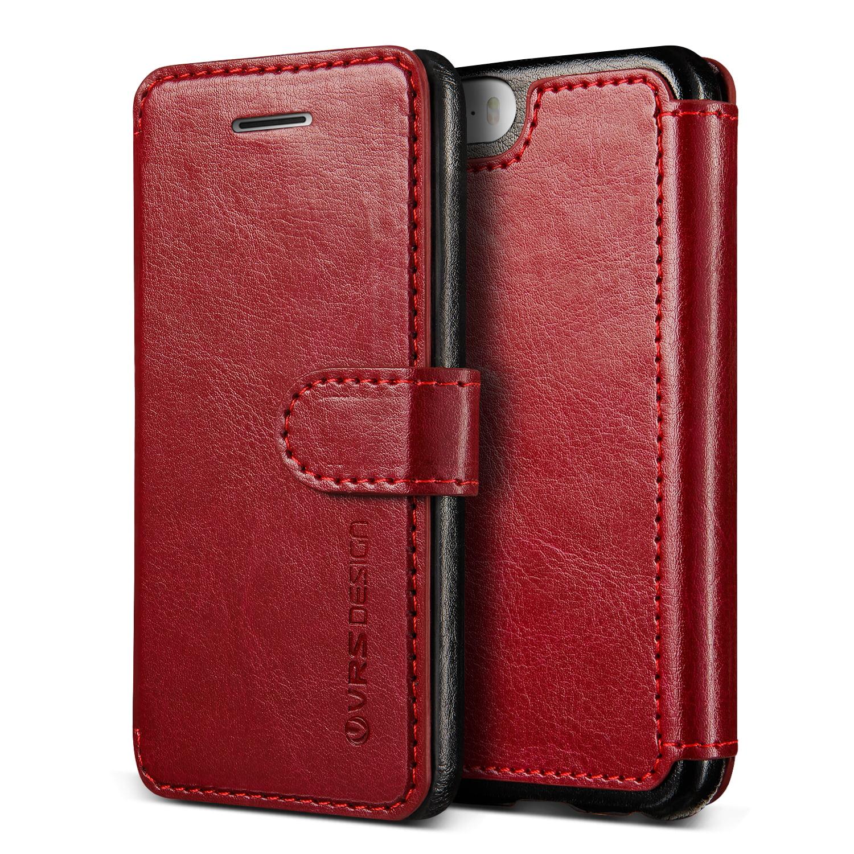 Apple iPhone SE Case, VRS Design Layered Dandy - PU Leather Wallet, 3 Card Slots, Slim Fit