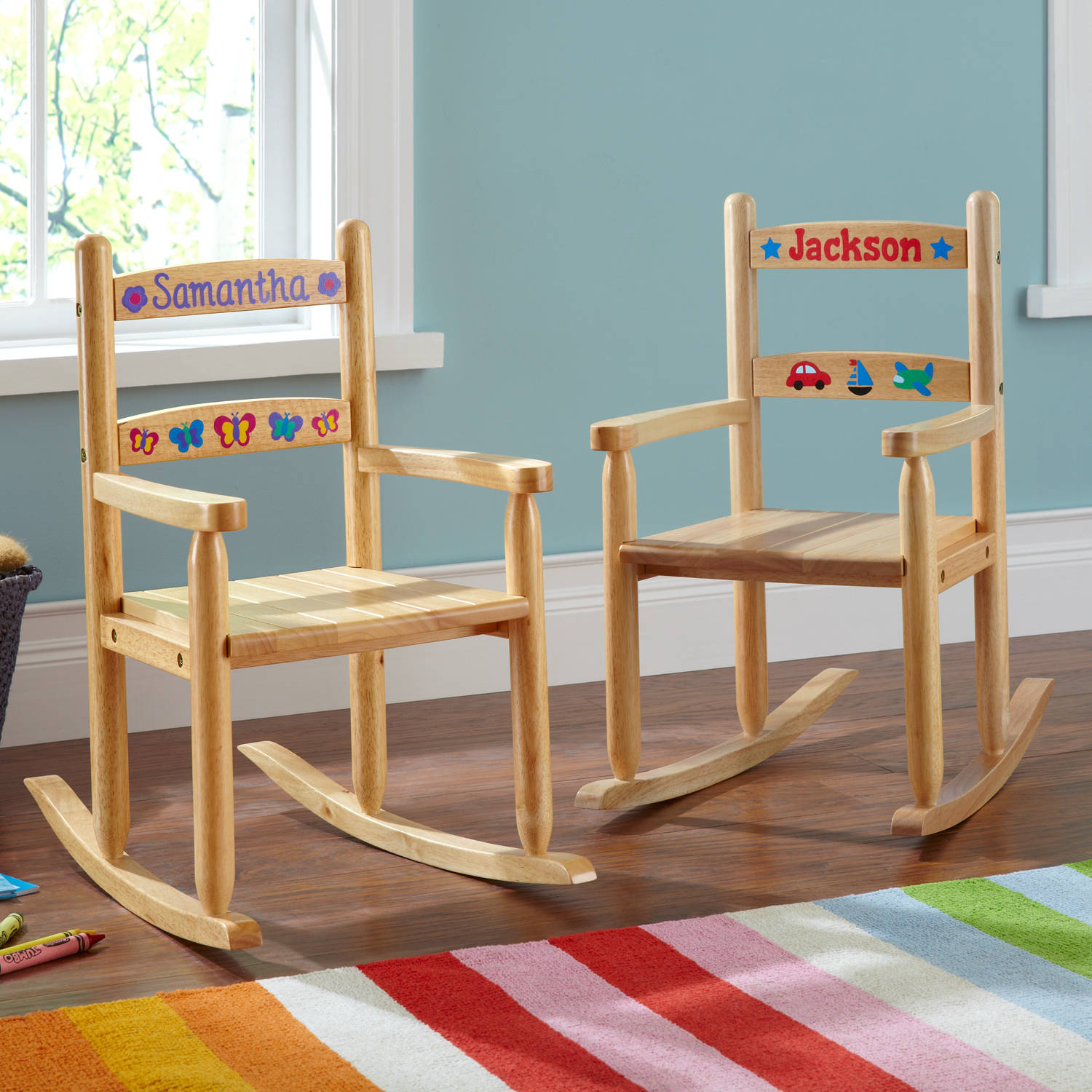 Personalized Wooden Rocking Chair with Transportation Design
