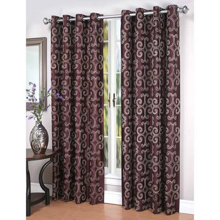 Embroidered Faux Silk Curtain - Enchantment Lined Embroidered Faux Silk Curtain Panel