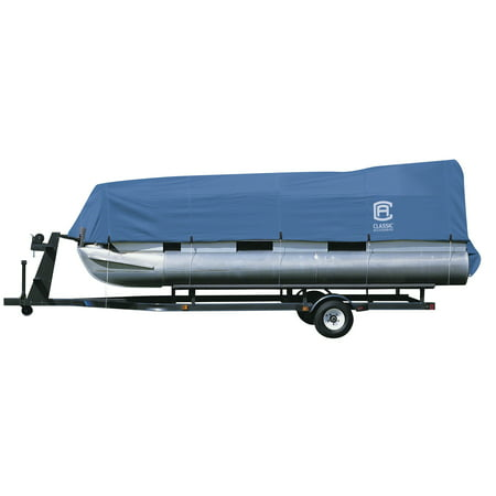 """Classic Accessories Stellex Pontoon Boat Cover, Fits Pontoon Boats 21 - 24 L x 102"""" W, Trailerable Boat Cover with Polyester Fade-Resistant Fabric, Model B"""
