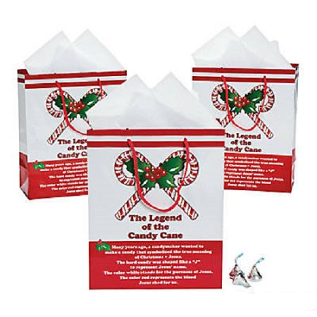 Lot of 12 Candy Cane Medium Size Christmas Gift Bags Party