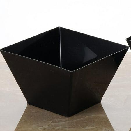 BalsaCircle Black 12 pcs 14 oz. Plastic Square Disposable Bowls - Wedding Reception Party Buffet Catering Tableware
