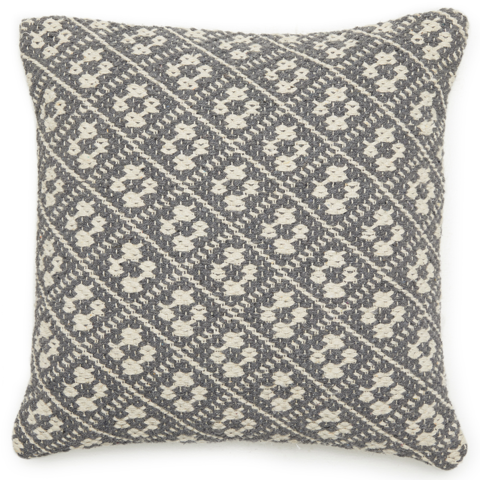 "MoDRN Scandinavian Gray Handwoven Decorative Throw Pillow, 18"" x 18"""