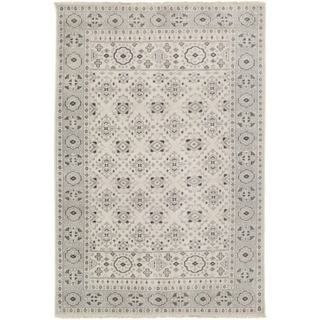 5.5' x 8.5' Fringed Topkapi Pewter Gray and Beige Hand Knotted Wool Area Throw Rug