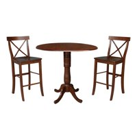 "42"" Round Pedestal Bar Height Table with Two Stools - Espresso"