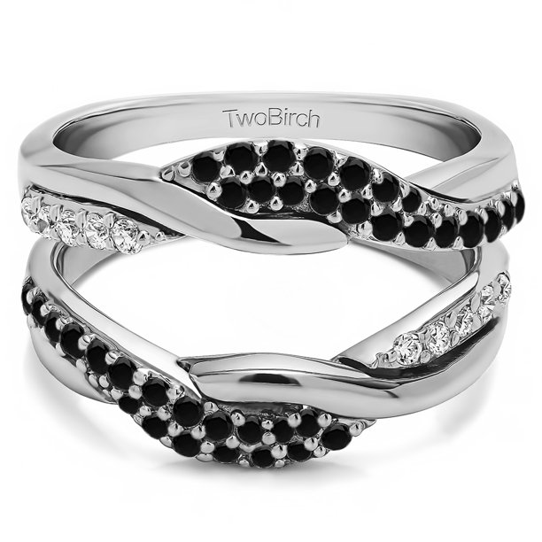 TwoBirch Bypass Wedding Ring Guard Enhncer In Sterling Silver With Black and White Diamonds (G,I2) (0.54ctw)