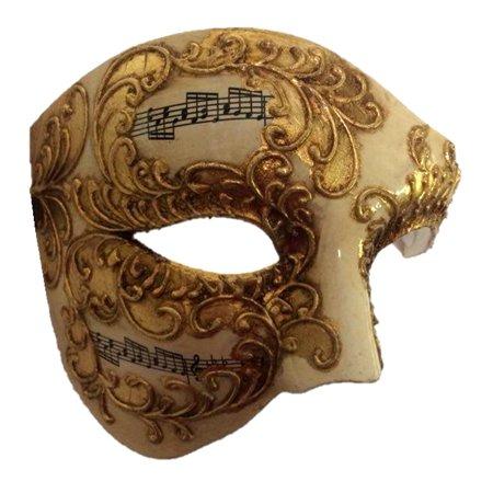 Venetian Phantom Half Costume Mask Adult Men Women Musical Notes