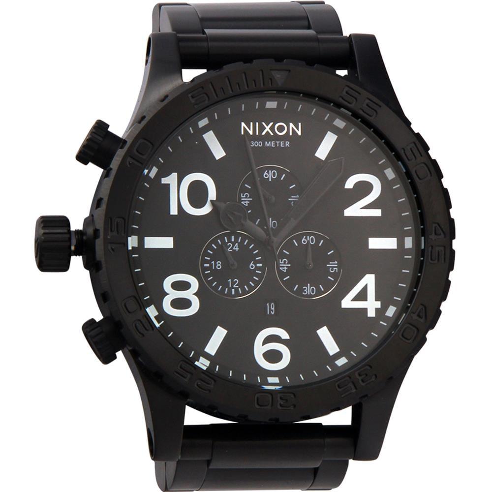 Nixon Men's 51mm Black Steel Bracelet & Case Quartz Analo...