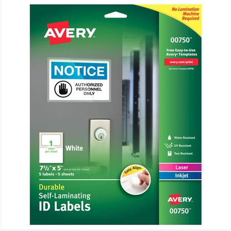 Avery Easy Align Self-Laminating ID Labels, 00750, 7-1/2