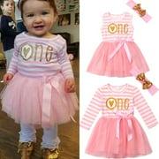 Fashion Newborn Baby Girl Princess Wedding Party Prom Birthday Dress Skirt Tutu Dresses+Headband 0-24M