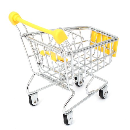 Mini Supermarket Shopping Hand Trolly Cart Model Toy Storage Container Yellow - image 1 de 3