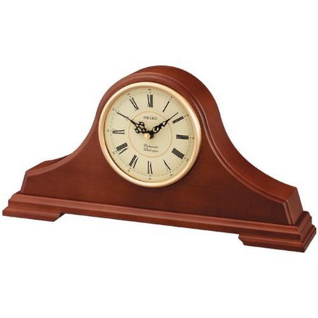 - Seiko Medium Brown Oak Tambour Mantel Clock