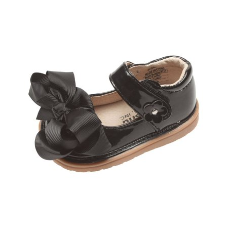 Mooshu Trainers Baby Girls Black Patent Bow Squeaky Mary Jane Shoes for $<!---->