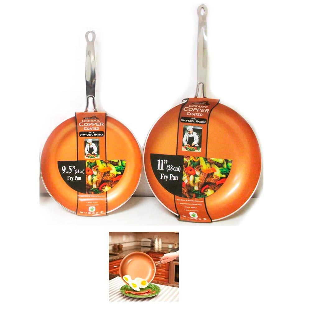 "2 Ceramic Copper Coated Non Stick Fry Pan Set Eco PFOA free Cookware 9.5"" 11"" !"