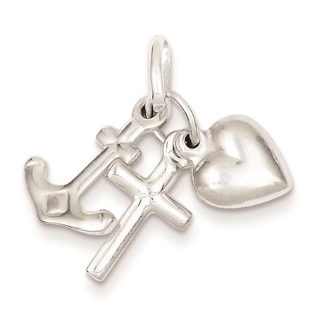 - Hollow Faith, Hope & Charity Solid Charm Pendant 925 Sterling Silver