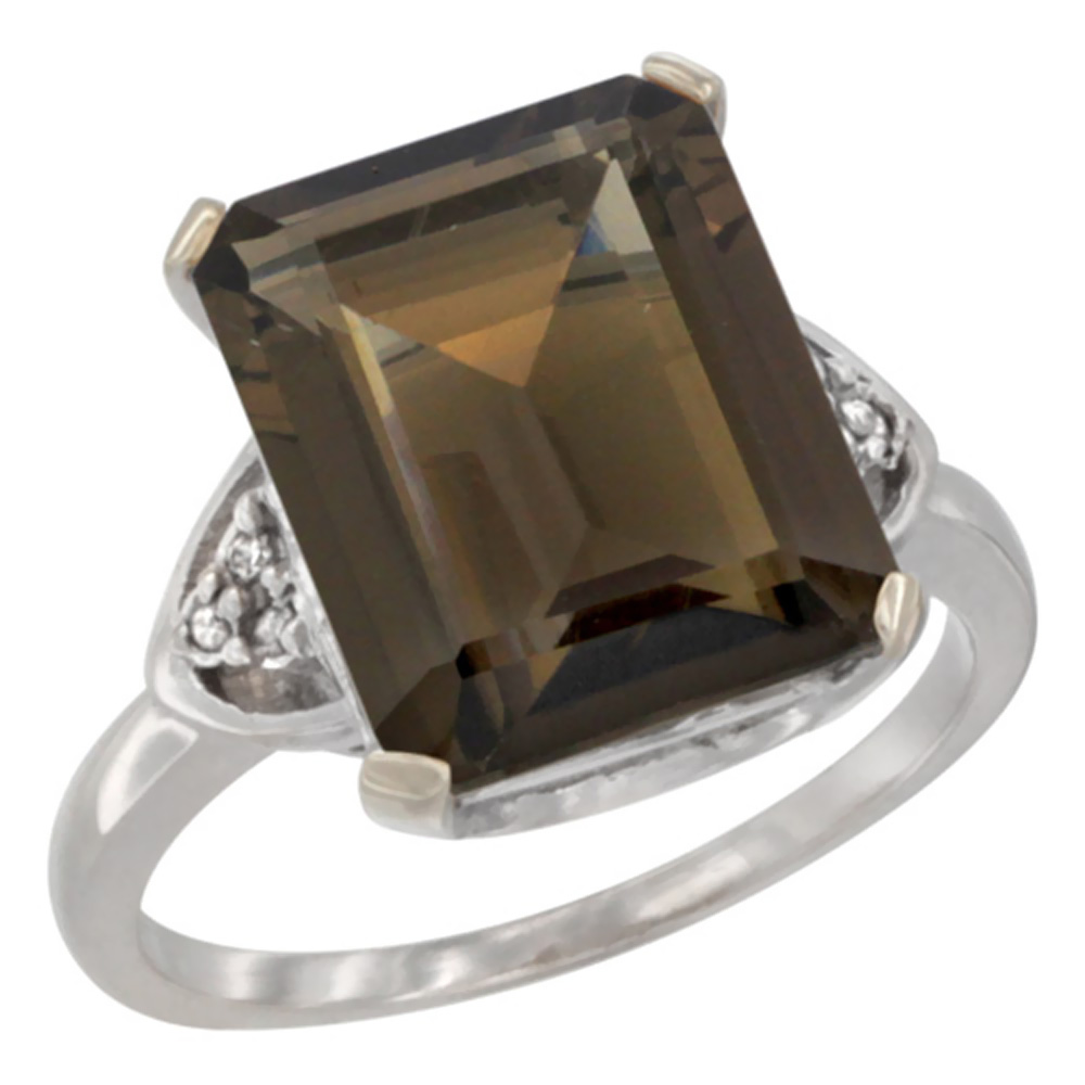 10K White Gold Natural Smoky Topaz Ring Octagon 12x10mm Diamond Accent, sizes 5-10 by WorldJewels