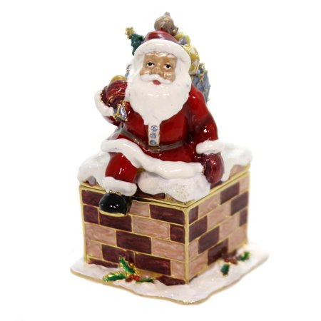 Hinged Trinket Box SANTA DOWN CHIMNEY Metal Enameled Christmas Delivery - Trinket Shoppe