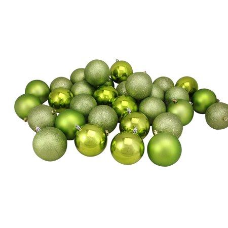 "32ct Kiwi Green Shatterproof 4-Finish Christmas Ball Ornaments 3.25"" (80mm) - image 1 de 1"
