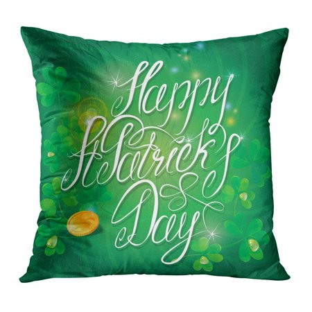 ECCOT Abstract Holiday Calligraphic Words Shamrock and Golden Coin on Dark Green Celtic Pillowcase Pillow Cover Cushion Case 18x18 inch