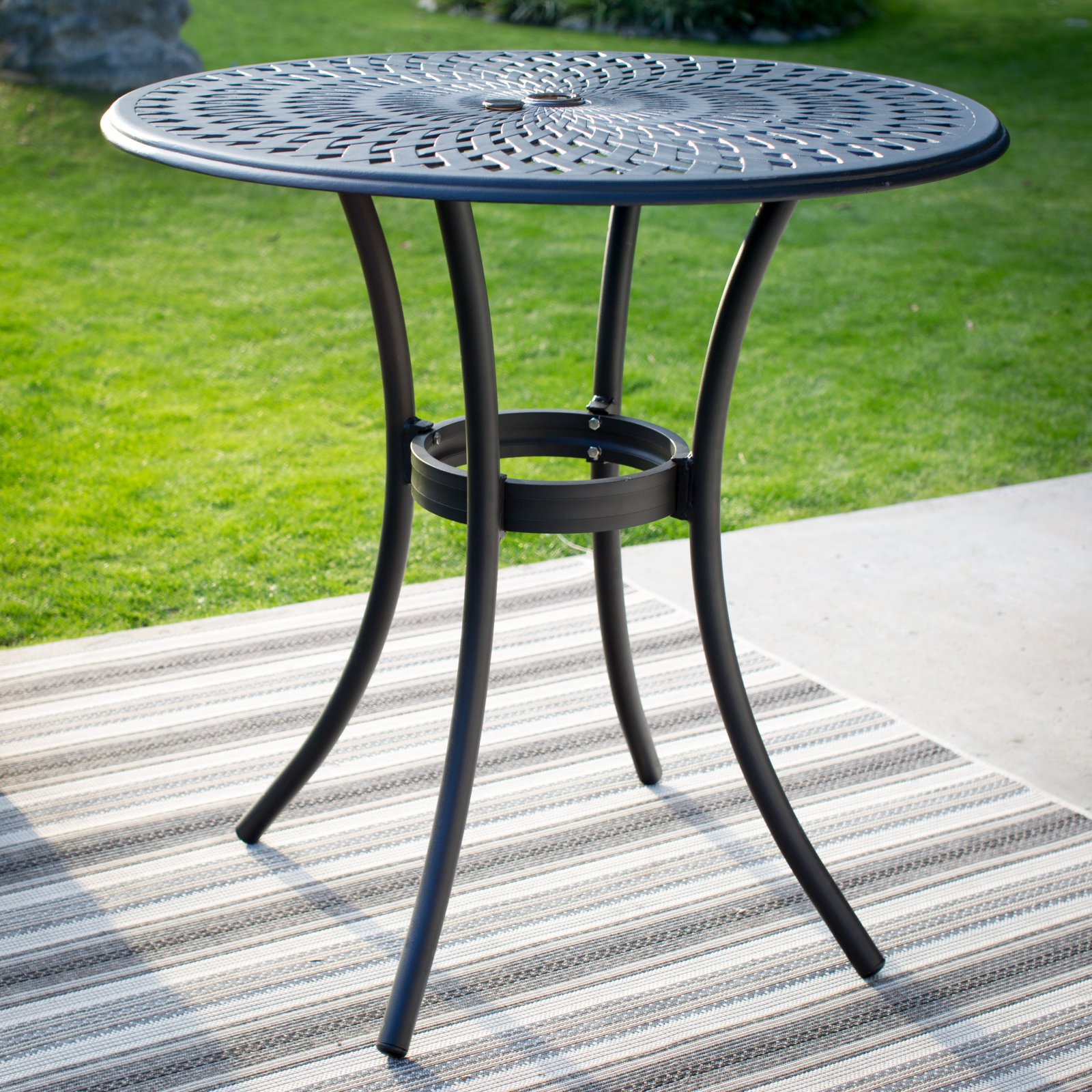 Belham Living Sorrento Aluminum 42 in. Round Patio Bar Height Table