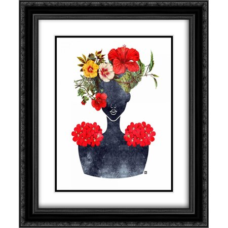 Flower Crown Silhouette I 2x Matted 20x24 Black Ornate Framed Art Print by Brown, - Black Flower Crown