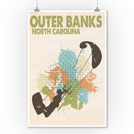 Outer Banks  North Carolina   Splatter Paint Kite Surfer   Lantern Press Poster  9X12 Art Print  Wall Decor Travel Poster