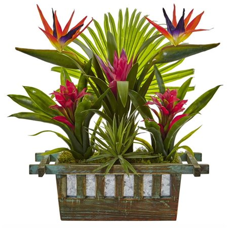 Nearly Natural artificial indoor Birds of Paradise and Bromeliad in (Bird Of Paradise Natural Wood)