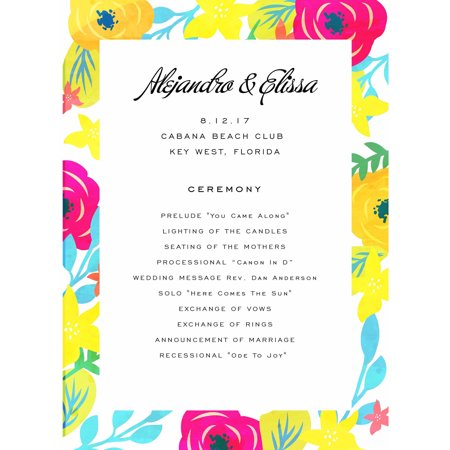 Tropical Paradise Standard Program Card - Fan Wedding Programs