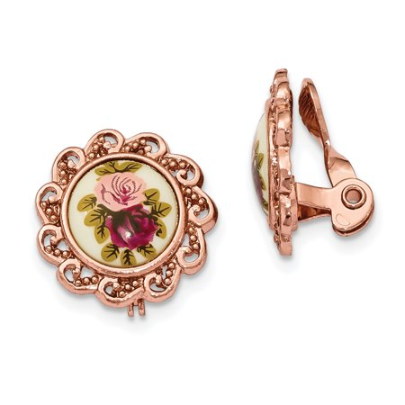 1928 Jewelry Manor House Rose Gold-Toned Clip-On Earrings