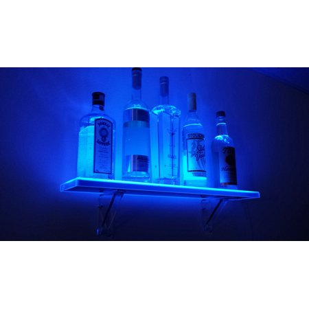 3' LED Illuminated Liquor Shelf & Display - Includes Wireless Remote and Wall Mount Kit - Made in the USA