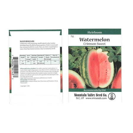 Crimson Sweet - Watermelon Garden Seeds - Crimson Sweet - 3 g Packet - Non-GMO, Heirloom Vegetable Gardening Fruit Melon Seeds