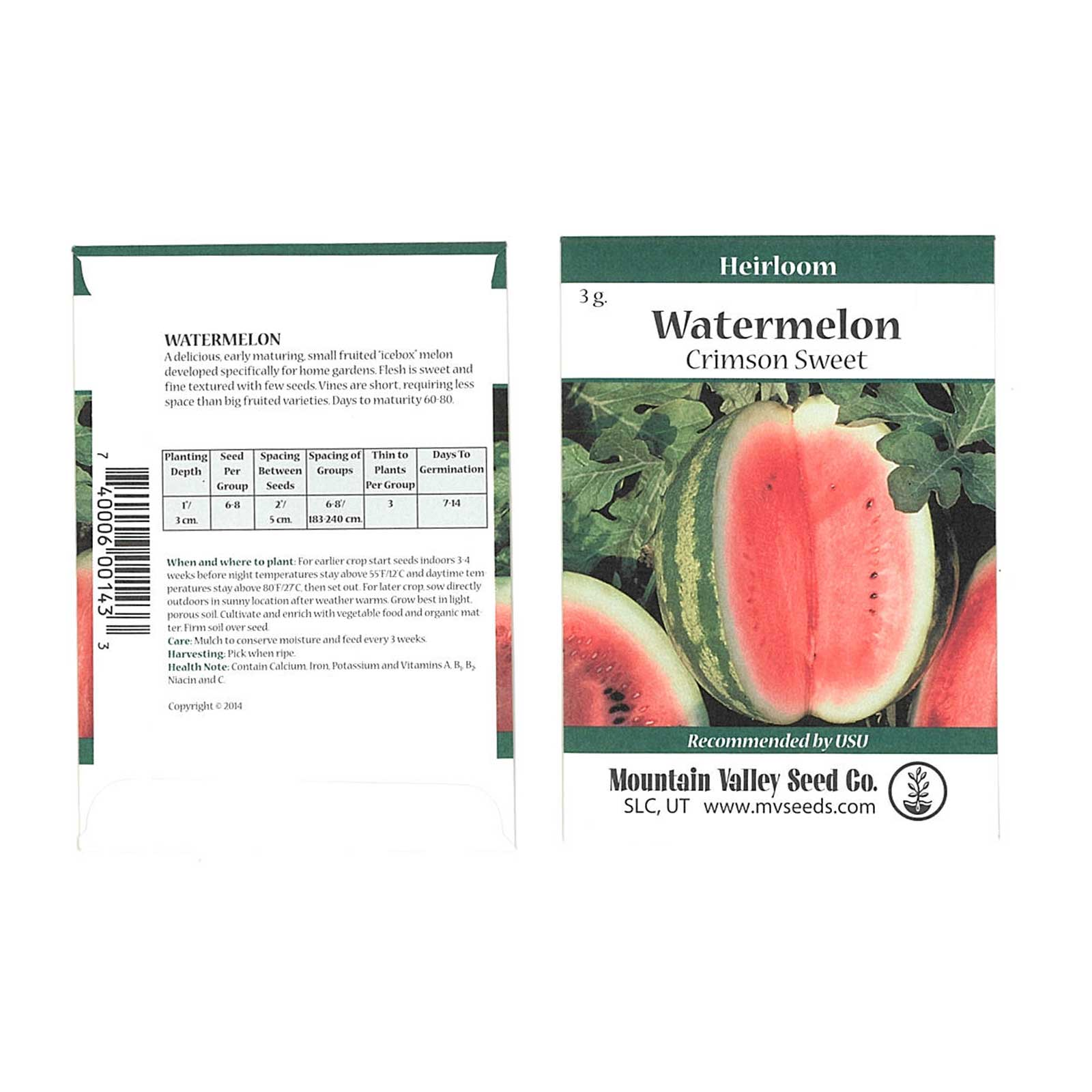 Watermelon Garden Seeds - Crimson Sweet - 3 g Packet - Non-GMO, Heirloom Vegetable Gardening Fruit Melon Seeds