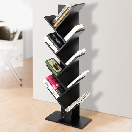 9 shelf tree bookshelf superjare book rack bookcase display storage rack for cds books black. Black Bedroom Furniture Sets. Home Design Ideas