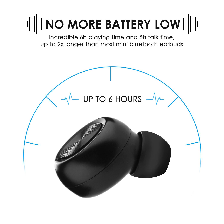 AGPtek Mini Wireless Bluetooth 4.0 Stereo In-Ear Headset Earphone Earbud Earpiece Black