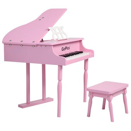 Childs 30 Key Toy Grand Baby Piano W Kids Bench Wood Pink