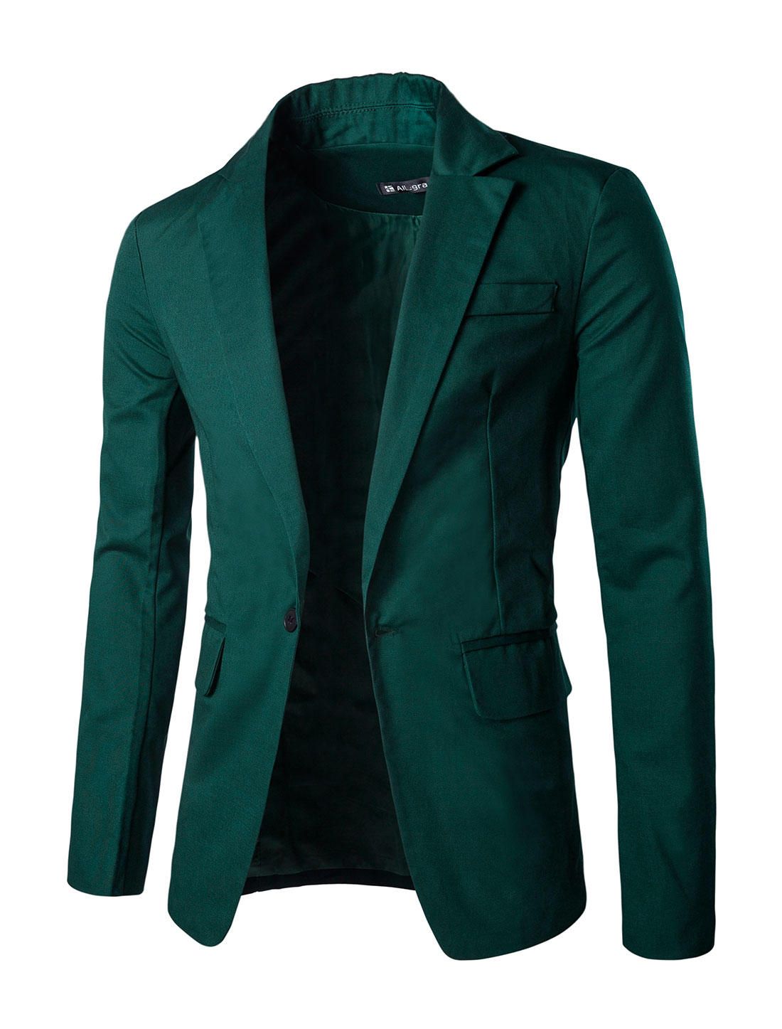 Unique Bargains Men Notched Lapel Center-Vent Back One-Button Blazer Dark Green L