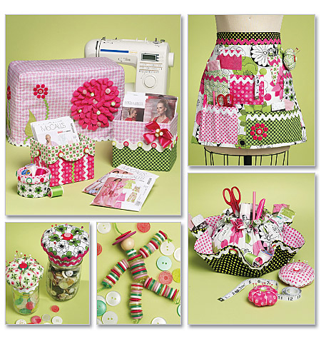 McCall's Pattern Sewing Machine Cover, Apron, Pattern Boxes, Container and Organ, 1 Size Only