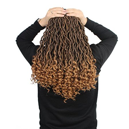 6 Packs/lot Goddess Faux Locs Crochet Hair Braiding Prelooped Faux Locs Twist Crochet Hair Braids with Curly Ends 24 roots/pack Ombre Blonde Dreadlocks Synthetic Hair Extensions (1b/27) - image 1 of 4