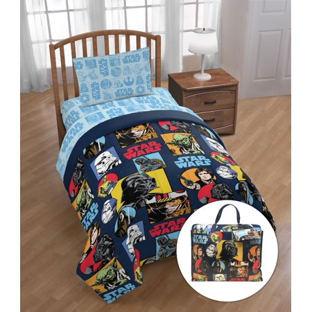 Star Wars Classic 'Galactic Grid' Twin Bed Set with Bonus Tote, Kid's Bedding](Star Wars Room Decor)