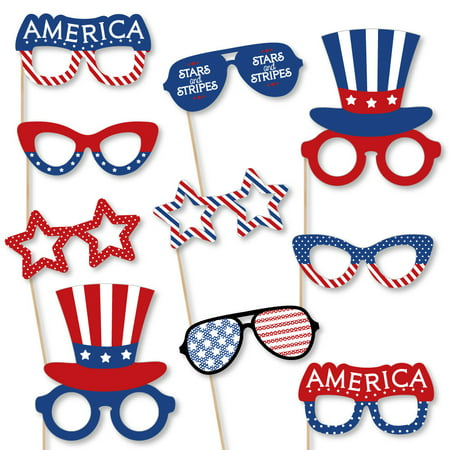 Patriotic Glasses - Paper Card Stock 4th of July & Independence Day Party Photo Booth Props Kit - 10 Count](4th Of July Photo Booth Props)