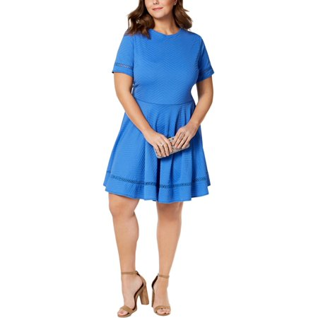 City Studio Womens Plus Lattice Stitch Easter Mini Dress