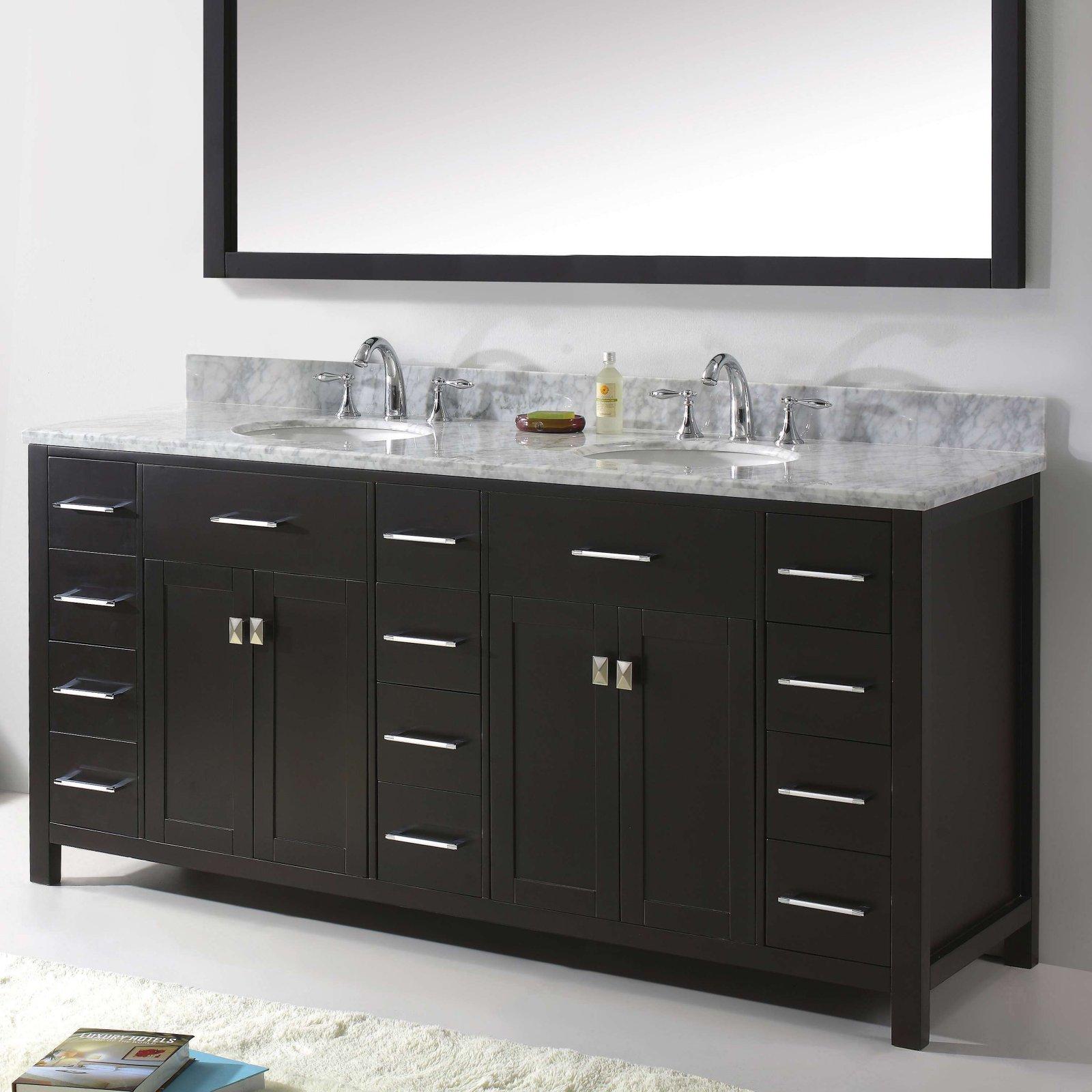 Virtu Caroline Parkway 72 in. Double Bathroom Vanity Cabinet
