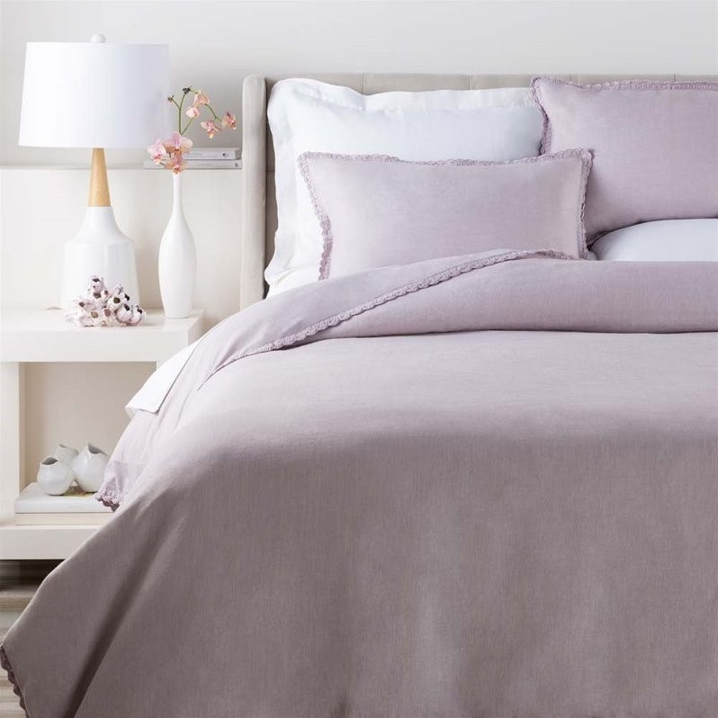 SURYA Evelyn Woven Linen Full Queen Duvet in Purple